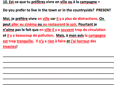 Edexcel GCSE French Speaking Questions and Model Answers