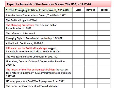 Edexcel Route F Paper 1: USA, 1917-96 Knowledge Check
