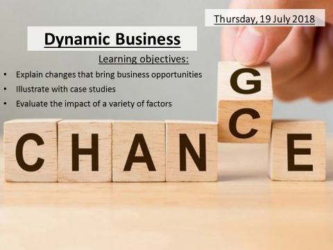1. The dynamic nature of business GCSE Business Edexcel 1-9
