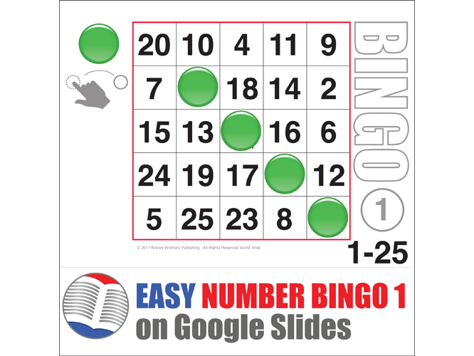 Easy Number Digital Bingo 1-25