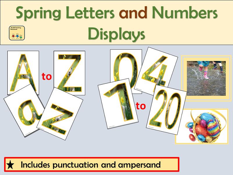 Alphabet and Numbers Display: Spring Season inc Punctuation symbols and Spring Photos