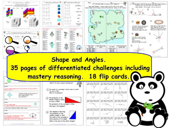 Geometry Properties of Shapes and Angles Y5.  35 pages of differentiated challenges inc. mastery.
