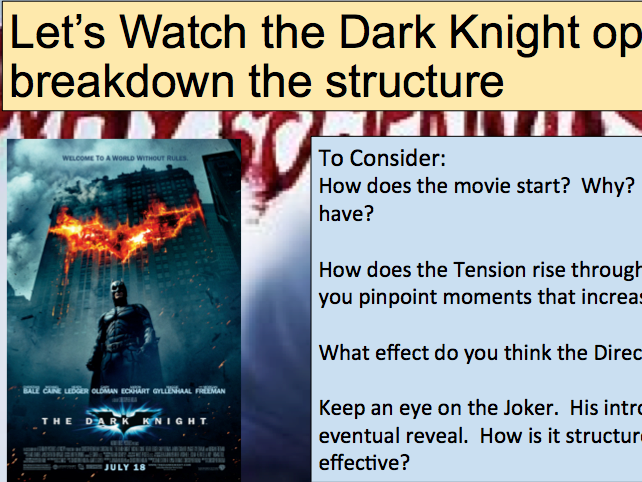 GCSE English Language Paper 1 Q3 - Batman Dark Knight Structure Lesson