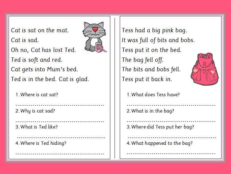 Phonics Phase 2 Reading Comprehension Booklet Teaching Resources