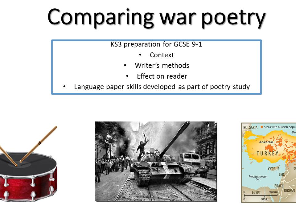 KS3 Comparing war poetry - develop skills for 9-1 - John Scott The Drum & Choman Hardi Invasion