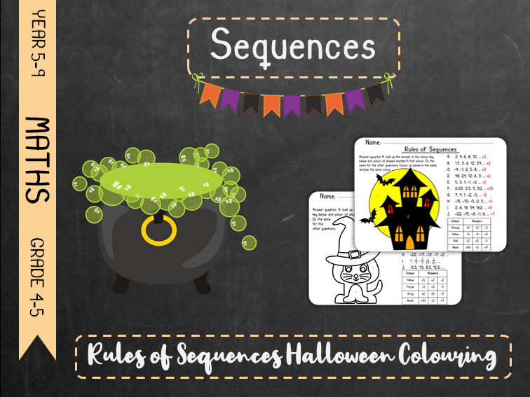 Sequences - Rules of Sequences Halloween Colouring