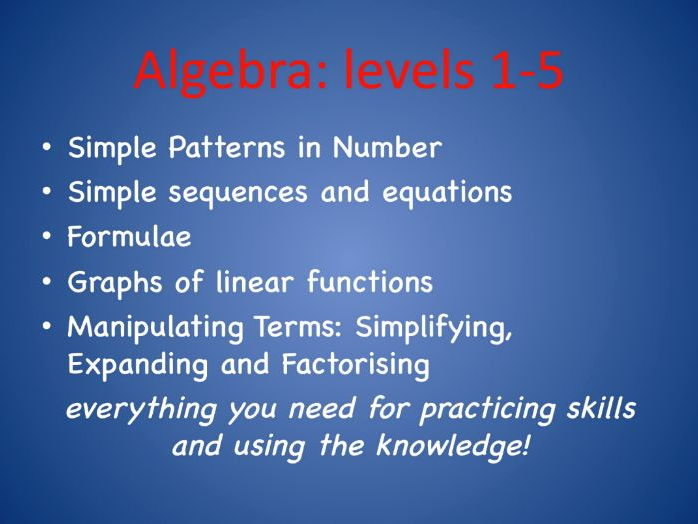 Maths Algebra for Levels 1-5 or KS3 top end.  Five extensive booklets to cover each topic.