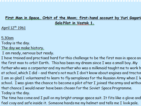 KS1 & 2 (2 A4 pages) Eye witness recount /diary account of Russian Astronaut ,Yuri Gagarin, the firs