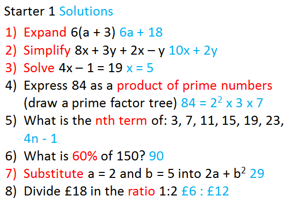 KS4 Maths Starter Questions