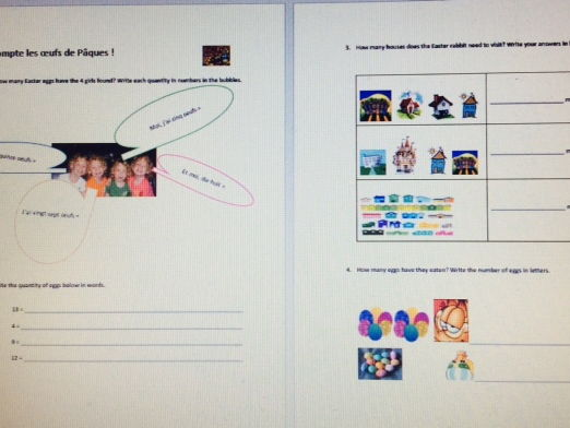 Easter Revision: compter, sa routine, couleurs a paques