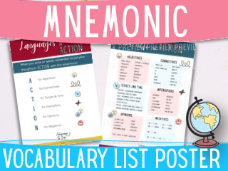 Basic French vocabulary - ACTION mnemonic vocabulary list poster