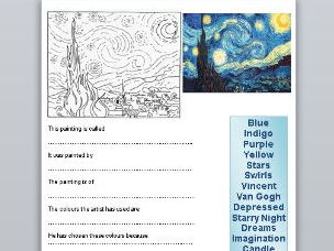 Vincent Van Gogh Starry Night Question Sheet & Colouring Frame