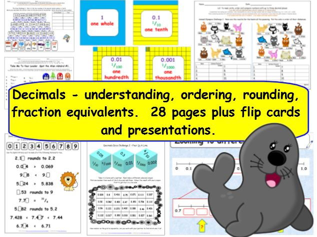 Decimals - Y5 Understanding, Ordering, Rounding, Fraction Equivalents Differentiated Challenges ++