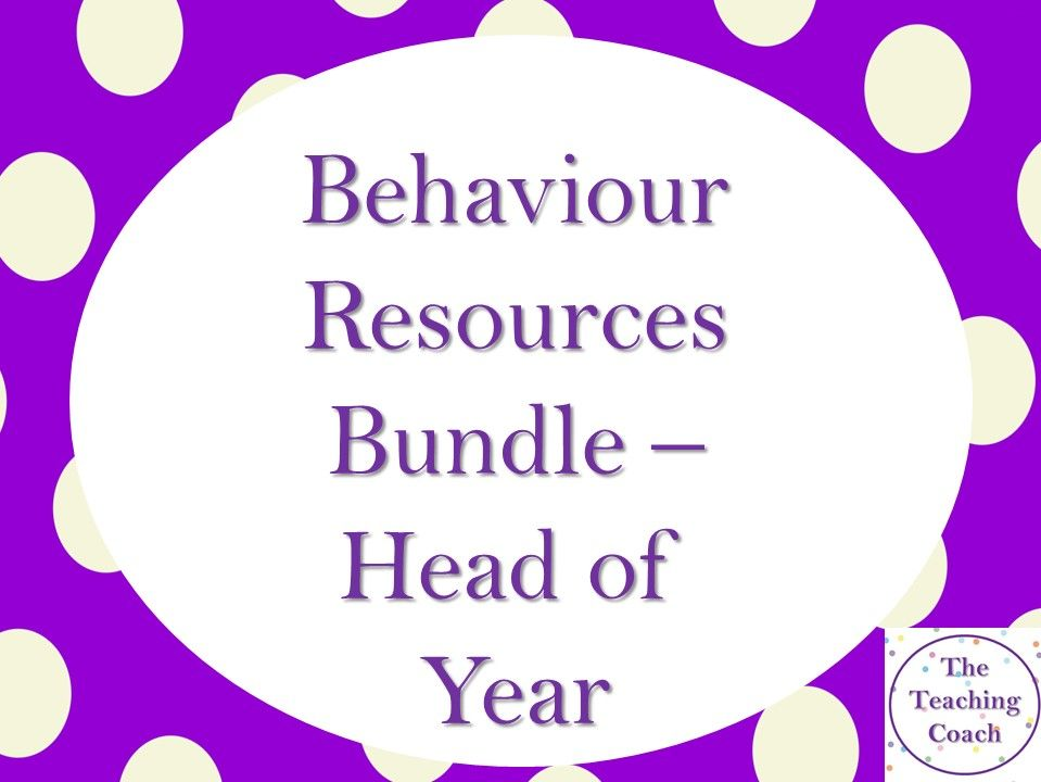 Behaviour Monitoring Improvement Bundle: Heads of Year/House Pastoral - Form Time Tutor