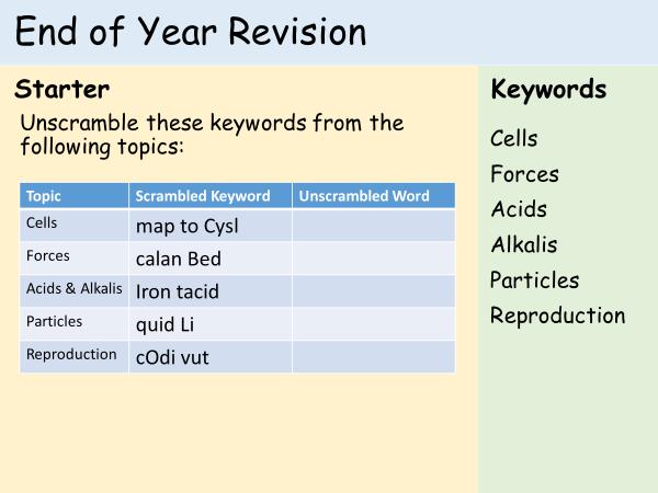 KS3 Cells, Reproduction, Forces, Acids, Particles Revision Game