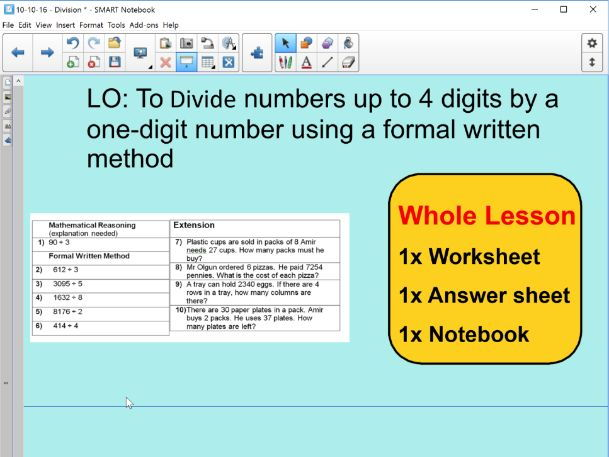 Whole Lesson - division - dividing 4 digits by 1 - applying problems ...