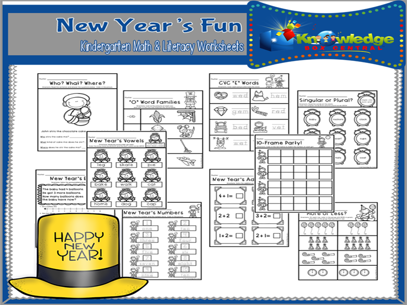 New Year's Fun Kindergarten Math & Literacy Worksheets