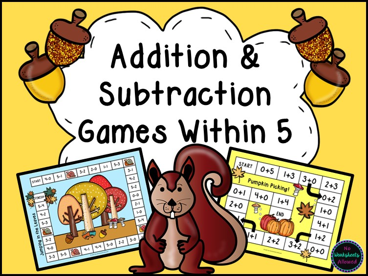 Addition and Subtraction Within 5 Games {Autumn Theme}