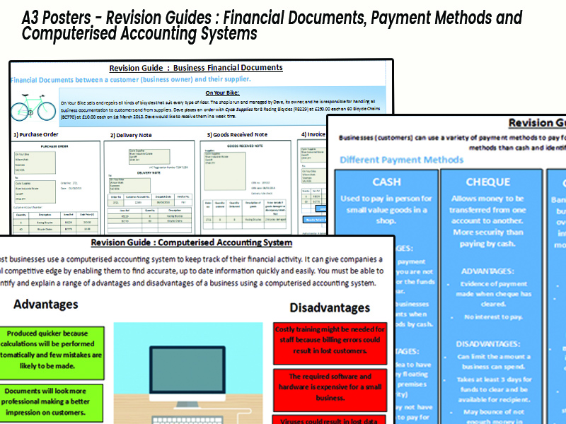 Revision Poster Financial Documents, Payment Methods & Computerised Accounting