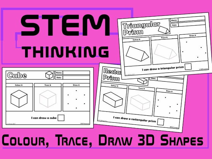 Colour, Draw, Trace 3D Shapes Worksheets, STEM