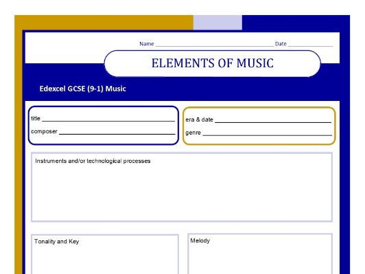 MUSIC EDEXCEL GCSE (9-1) Elements of Music worksheet to fill in