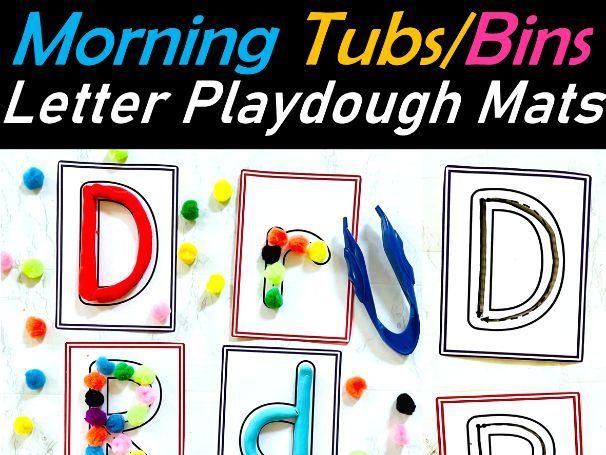 Playdough Letters/ Alphabets Fine Motor Task Cards for Work bins, Morning tubs