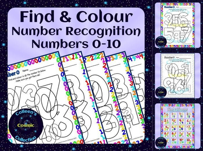 Number Recognition Find and Colour Numbers 0-10 (non-US version)