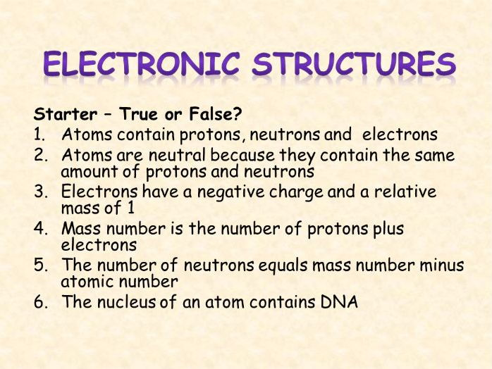 AQA Chemistry Topic 1: Electronic Structures