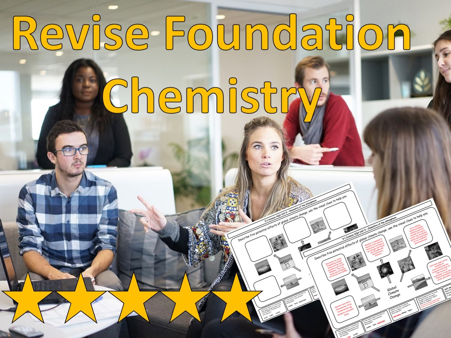 AQA GCSE Revision Mat Bundle for FOUNDATION TIER Combined Science Chemistry. Now with answer grids!