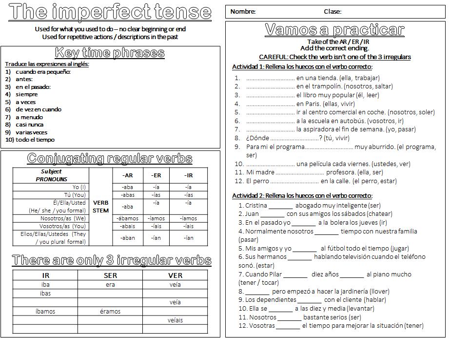 The imperfect / El imperfecto Worksheet - GCSE Spanish grammar