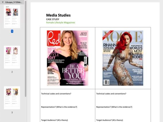 Female Lifestyle Magazine Comparison Analysis Worksheet (x6 examples) A4 PDF