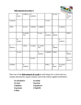 Rifornimenti di scuola (School objects in Italian) Sudoku