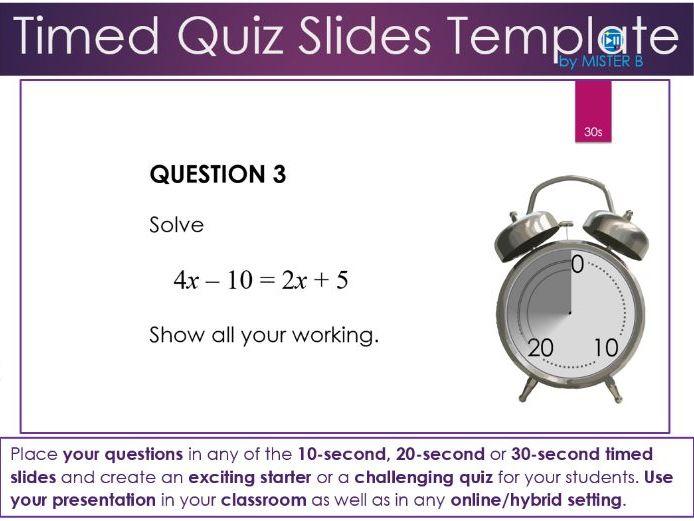 Timed Quiz Slides Template
