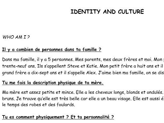 GCSE French conversation questions with model answers (Identity and Culture)