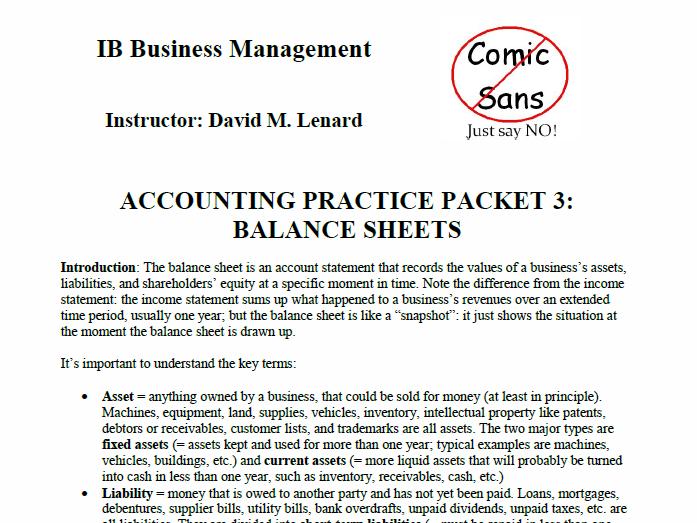 IB Business Management Accounting & Finance Packet 3: Balance Sheet