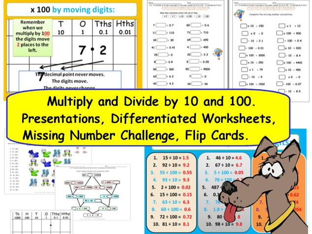 KS2 Y3 Y4 Y5 Multiply & Divide 1&2 Digit Numbers by 1, 10 and 100.  Presentations Worksheets & More.