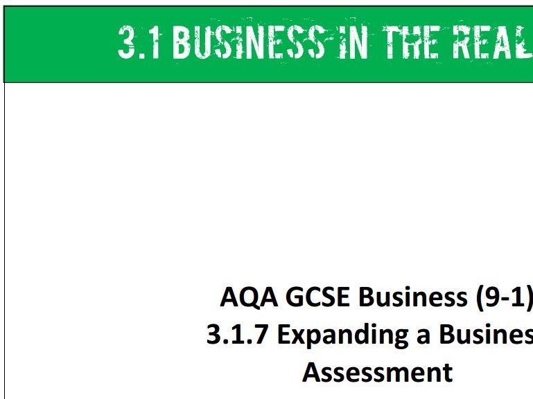 AQA GCSE Business (9-1) 3.1.7 Expanding a Business - Assessment