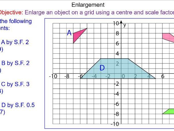 GCSE Transformations - Enlargements to a centre and scale factor