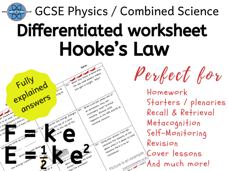 Hooke's Law GCSE Physics and/or Combined Science Differentiated Equation Worksheet Elastic Potential