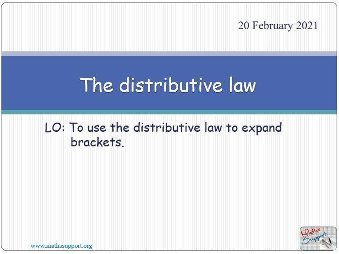 The distributive law - Expanding brackets