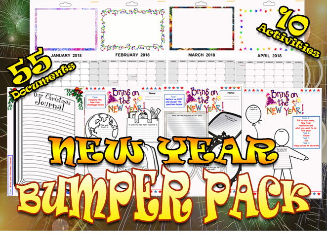 New Year Bumper Pack of awesome worksheets and task sheets