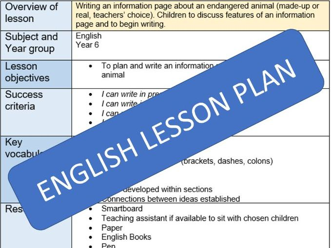 Information Page lesson plan (Upper KS2)