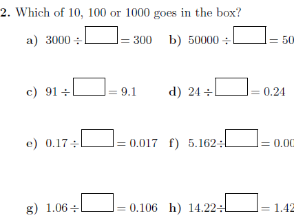 Multiplying and dividing whole numbers and decimals by 10, 100 and 1000 worksheets (with answers)