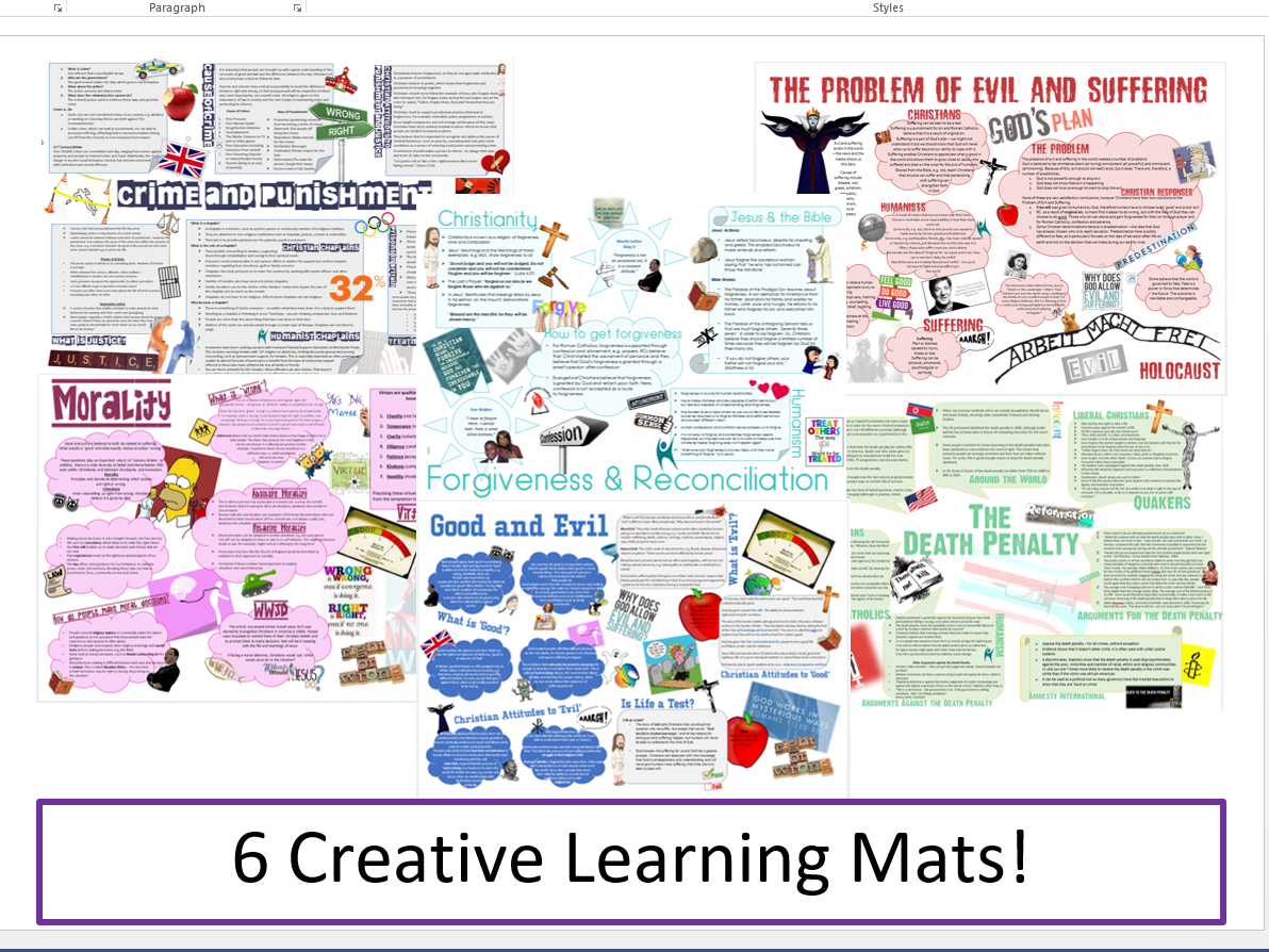 WJEC Eduqas Issues of Good and Evil Learning Mat Bundle