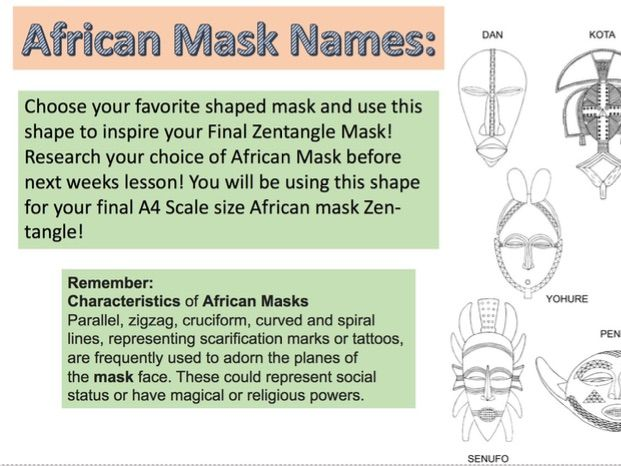 AFRICAN MASK ART LESSONS X6 REMOTE/CONTINUED
