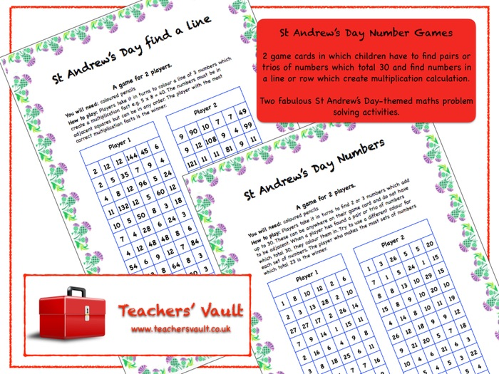 St Andrew's Day Number Games