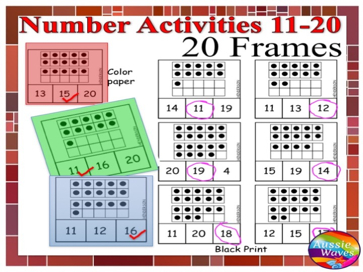 Kinder Maths Centre Activity COUNTING NUMBERS 11-20 using TEN FRAMES