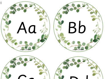 Natural looking alphabet with upper and lower case