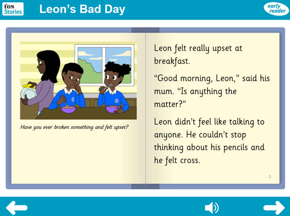 Leon's Bad Day Interactive Storybook - Early Reader Level - PSHE KS1