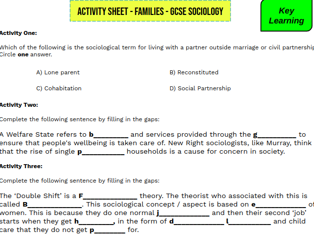 DIFFERENTIATED FAMILIES WORKSHEET SOCIOLOGY
